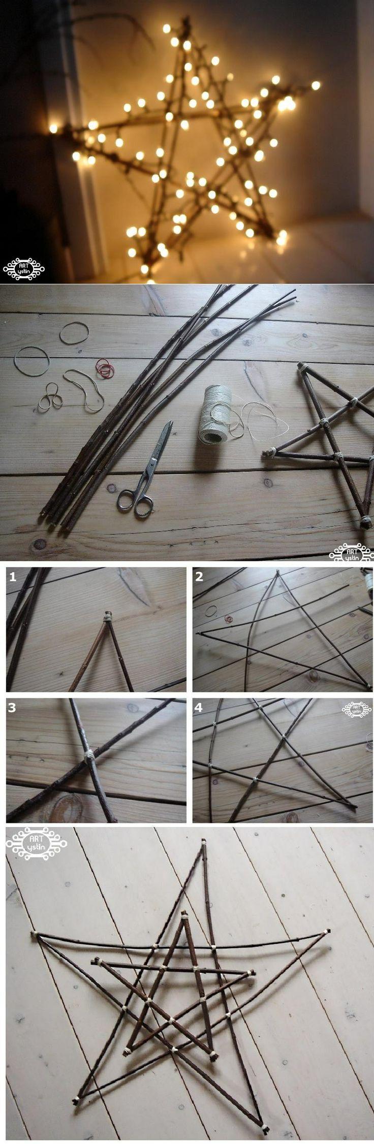 gwiazda zrobiona z patyków-star made of sticks