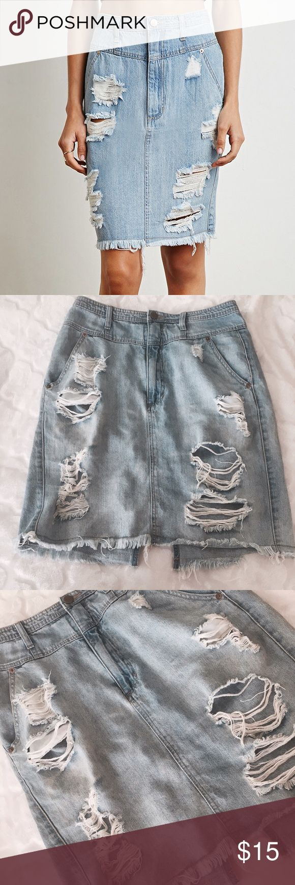 """Distressed Jean Skirt ✨ Distressed jean pencil skirt - Slit on back - High waisted - Size 30"""" waist ✨ Forever 21 Skirts"""