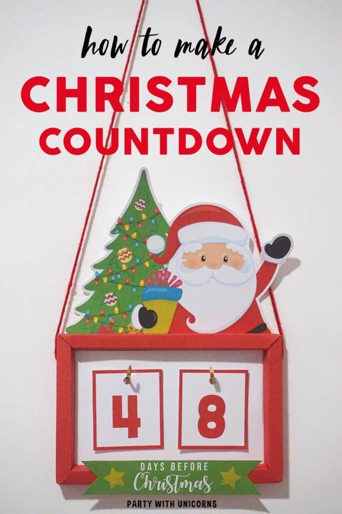 Diy Christmas Countdown Craft Printable Template In 2020 Christmas Countdown Crafts Christmas Countdown Diy Christmas Countdown