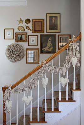 Valentine craft.  Valentine decorating.  Heart garland and canvas rag wreath tutorial.