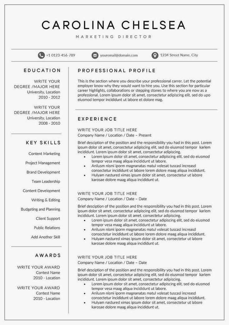 Professional Resume Template Instant Download 1 Page Resume Template For Ms Word Diy Resume In 2020 Good Resume Examples Resume Examples Resume Template Professional