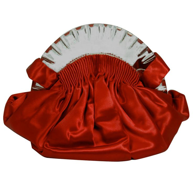 VINTAGE 1930 ART DECO RED SATIN & LUCITE BAG PURSE   It has spring hinges, original comb mirror and coin purse.