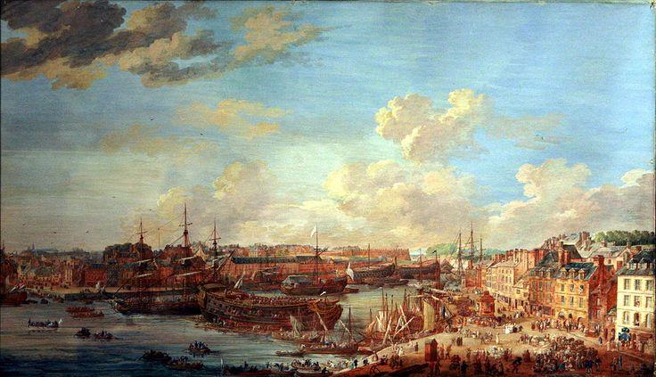 """""""Le Port de Brest, vue prise de la mâture"""", Louis-Nicolas Van Blarenberghe"""