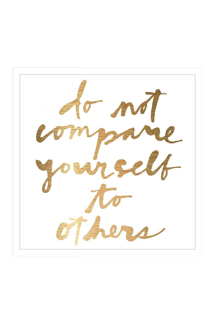 Do Not Compare Yourself Mirror Wall Art on @HauteLook Marmont Hill. Gold cursive letters