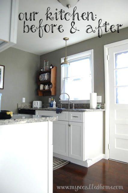 Our kitchen before and after benjamin moore gettysburg - Benjamin moore shaker gray exterior ...