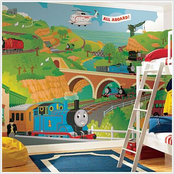 Thomas & Friends Wallpaper....  This looks better when it's actually painted as a mural on the wall.