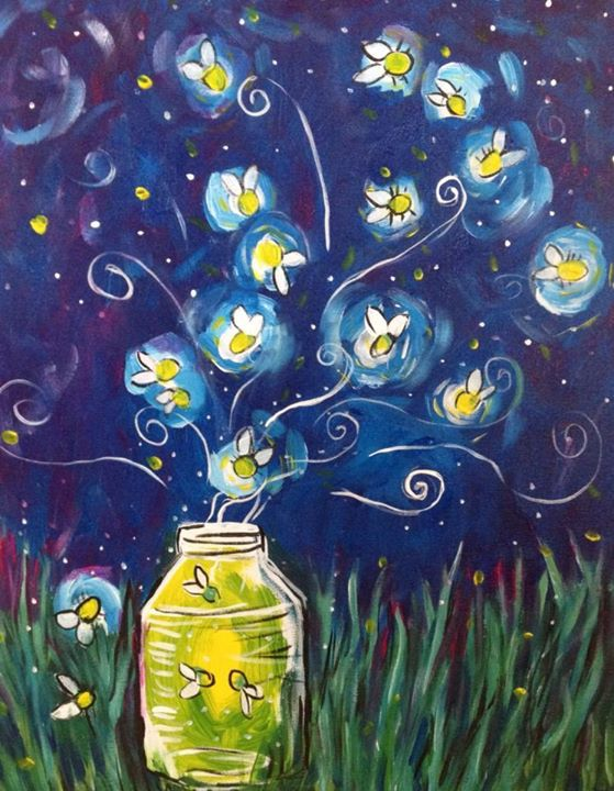 Fireflies paint night canvas work