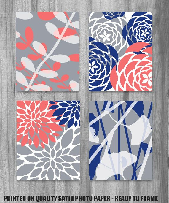 Sept '14- Coral Navy Gray Art Print Set Modern Vintage Floral Nature Prints 8x10 Set of 4