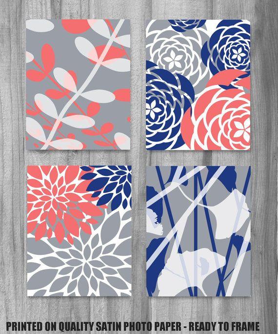 Sept '14- Coral Navy Gray Art Print Set Modern Vintage Floral Nature Prints 8x10 Set of 4