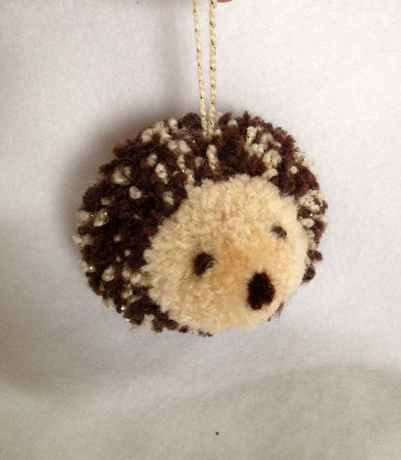 Hedgehog Pom Pom Ornament by elsabags on Etsy