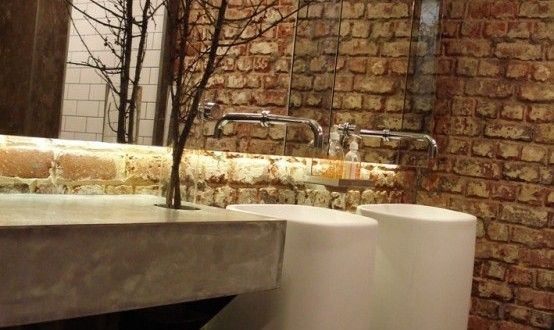 uğla Duvarlar ile 39 Şık Banyo Tasarımı