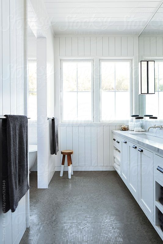 Beautiful bathroom in farmhouse by Trinette Reed