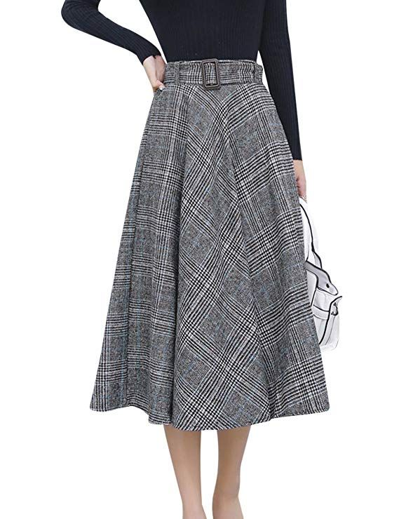 29392f7441 Tanming Women's Elastic Waist Belted Wool Blend Check Plaid Midi Skirt ( Large, Blue) at Amazon Women's Clothing store: