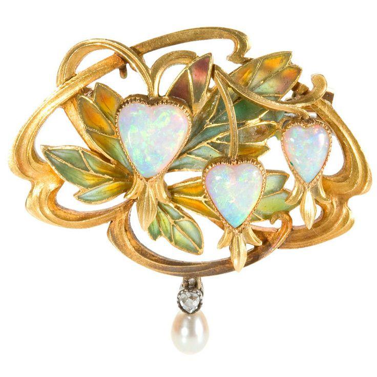 GASTON LAFFITTE Art Nouveau Gold and Enamel Pendant Brooch