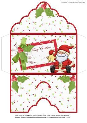 CHRISTMAS MONEY WALLET ENVELOPE Santa Star on Craftsuprint designed by Janet Briggs - Christmas money wallet or gift voucher holder, featuring cute Santa / Father Christmas.Sentiment tag on the front reads Merry Christmas and includes space for a To and From message. - Now available for download!