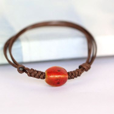 Single Bead Bracelet   Ceramic Beaded Bracelet   Leather Bracelet