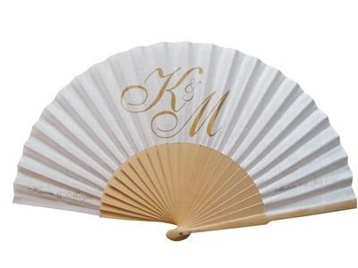 Initials on Personalized Wedding Hand Fan -