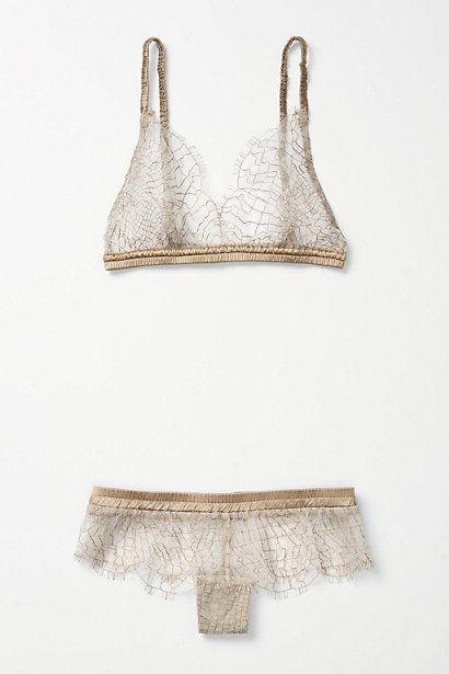 Spun Gold Anthropologie lingerie set.