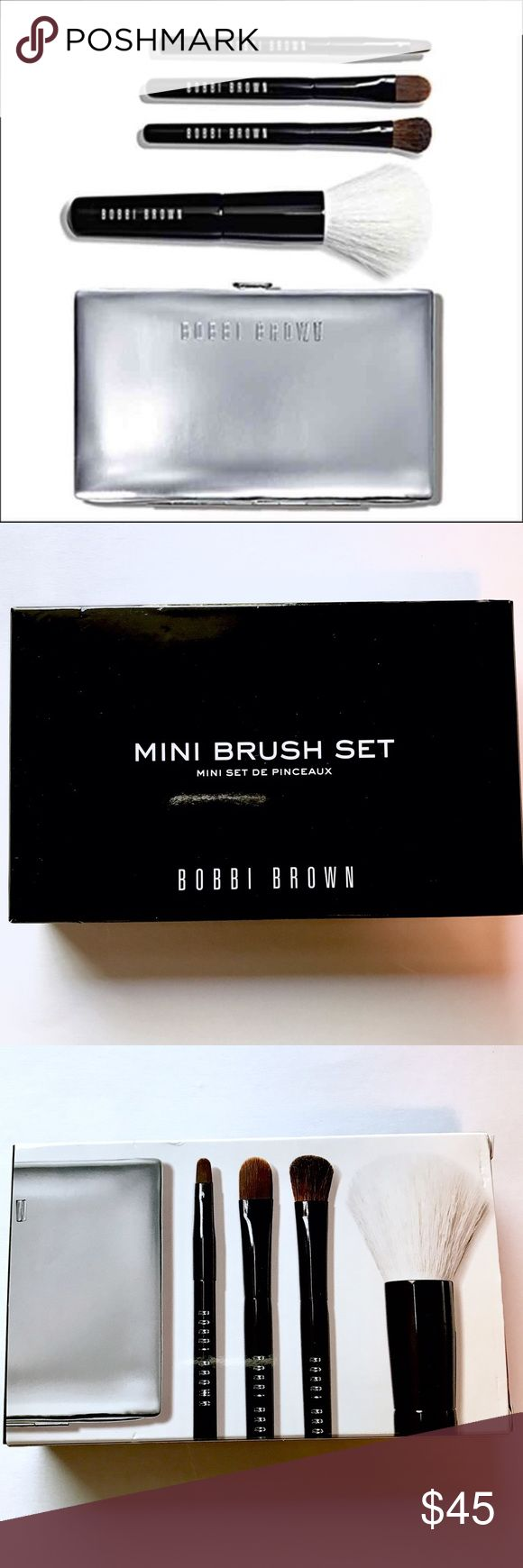 NIB - Bobbi Brown Mini Brush Set Authentic Bobbi Brown Mini Brush Set Includes:  Brush Case • Mini Face Blender Brush • Mini Cream Shadow Brush • Mini Eye Shadow Brush • Mini Ultra Fine Eye Liner Brush - Mini brushes have compact handles but full size brush heads - BNIB - Never Used Bobbi Brown Makeup Brushes & Tools