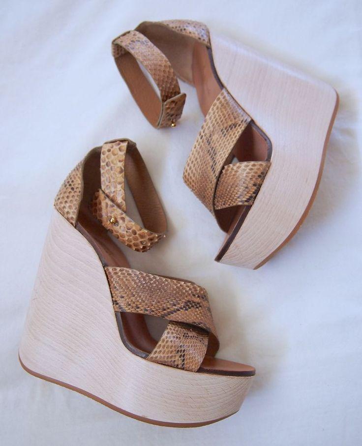 CHLOE Brown Snake Skin Criss Cross Wood Wedge Platform Heels Sandals 37.5 #Chlo #WedgeSandals