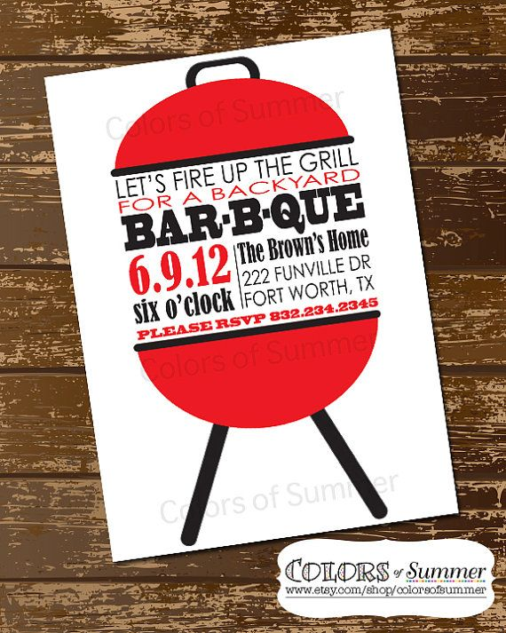 BBQ Grill Invitation  Digital File by colorsofsummer on Etsy, $15.00