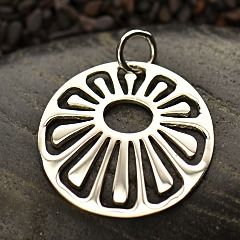 A unique and modern flower pendant that is sure to add style and flare to your jewelry designs. The detailed cutout petals give this daisy pendant abstract lines, and a fresh feel. This pendant is gorgeous worn on its own as a necklace, and is the perfect size to make a stunning pair of earrings.  http://www.ninadesigns.com/bali_bead_shop/sterling_silver_stylized_daisy_pendant/p2855/details/r