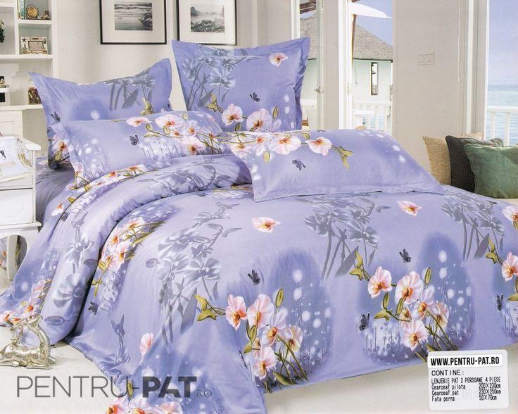 Lenjerie de pat bumbac satinat Casa New Fashion cu orhidee
