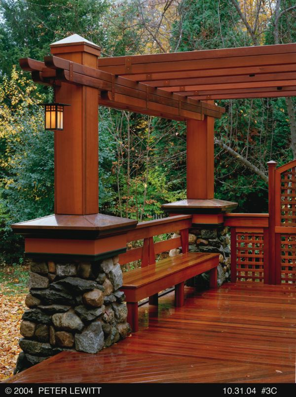 Craftsman - style deck and pergola: Idea, Pergolas, Color, Built In Benches, Craftsman Style, Back Porches, Wood Decks, House, Stones
