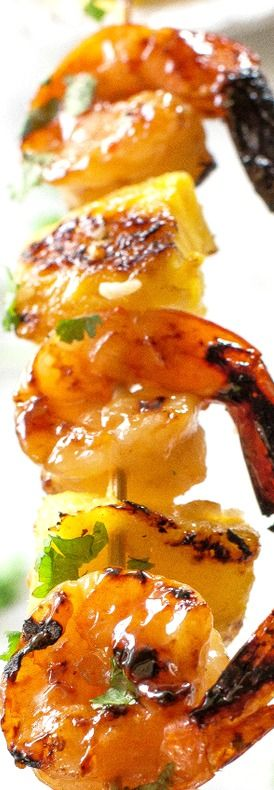 Grilled Shrimp and Pineapple Skewers over Coconut Rice ~ An easy meal for any night of the week!