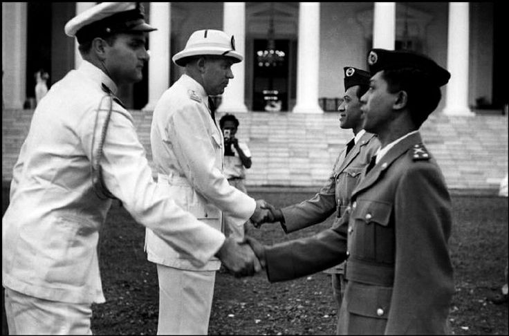 INDONESIA. Jakarta. Independence. 1949. Transfer ceremonies. From Magnum Photos website. I think this is in front of the Merdeka (independence) palace, formerly the governor general's palace.