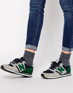 New Balance 420 Suede/Mesh Grey and Green Trainers