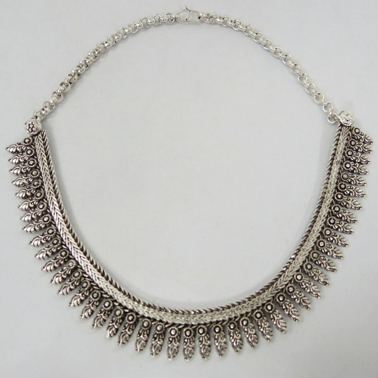 Silver Tone Ethnic Choker  necklace