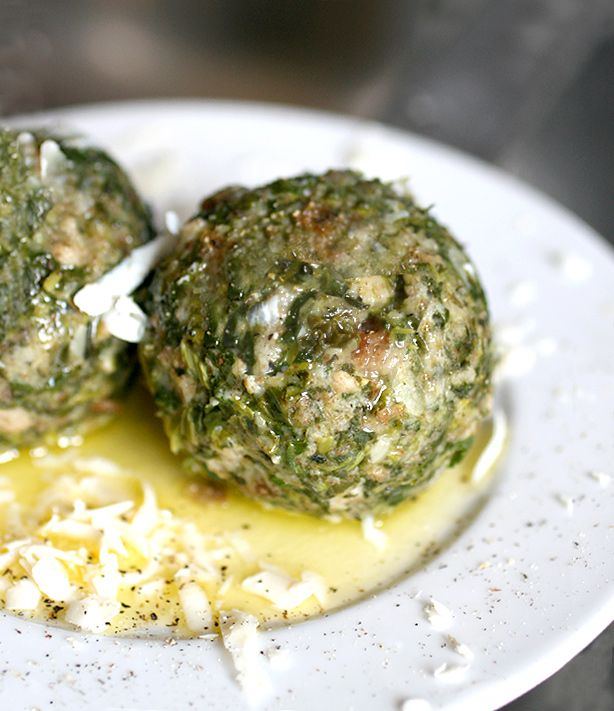 Canederli di spinaci (spinach and bread dumplings usually found in the north-east of Italy )