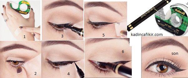 Para bandı kullanarak eyeliner çekme tekniği   Kadınca Fikir