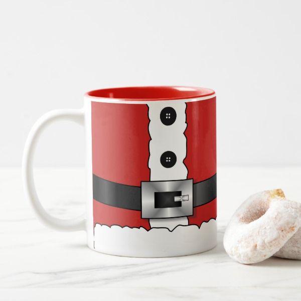 Festive Retro Christmas Red Suit Santa Claus Two Tone Coffee Mug Zazzle Com Mugs Retro Christmas Christmas Mugs