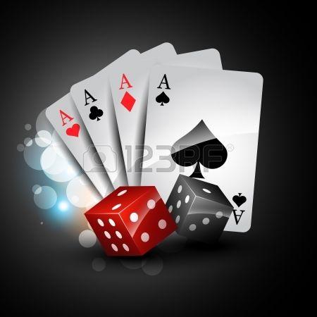 sada hrací karty s hrací kostky. Reklamní fotografie - 13917664