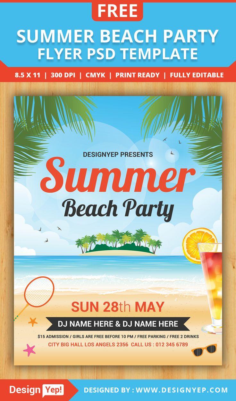 Free Summer Beach Party Flyer PSD Template Event flyer
