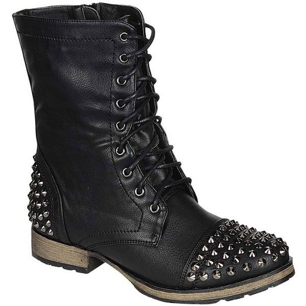 Breckelles Breckelle's Georgia 28 Women's Combat Boots Military Studs... (71 PLN) ❤ liked on Polyvore featuring shoes, boots, ankle booties, ankle boots, studded ankle boots, military boots, studded combat boots, laced up boots and laced up ankle boots