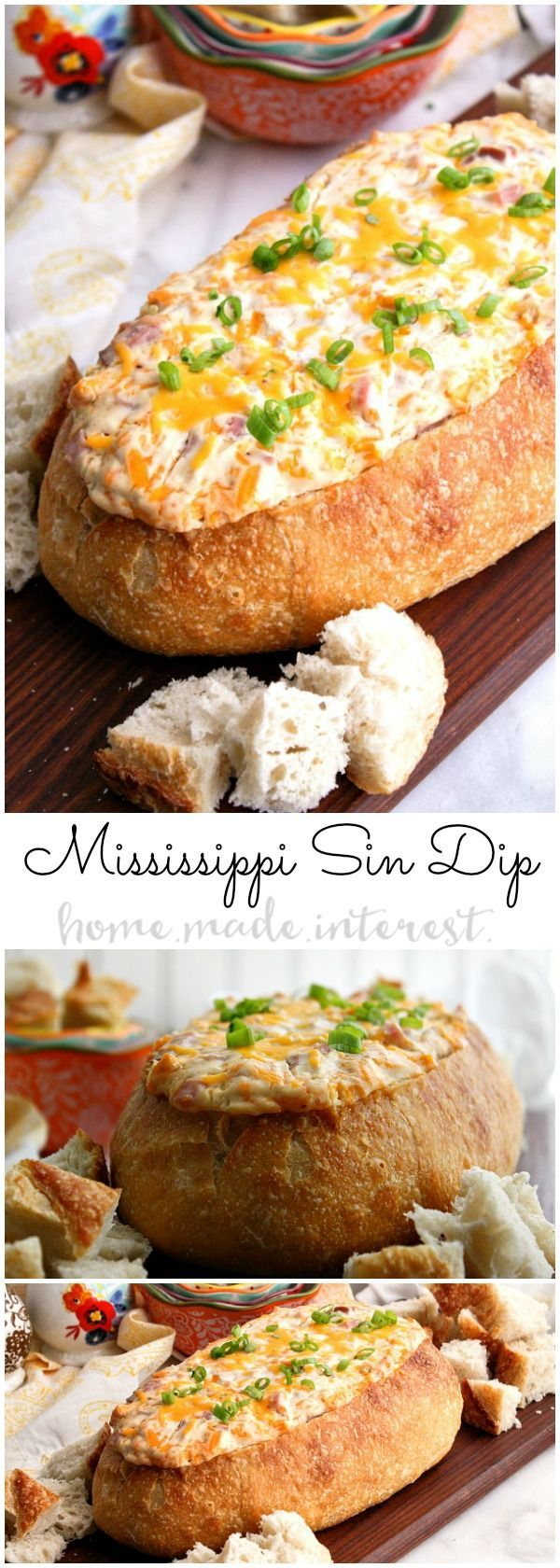 This decadent Mississippi Sin dip is an easy appetizer made with cheese and ham mixed together and baked inside a loaf of French bread until it is ooey gooey. The perfect game day appetizer or holiday party appetizer!