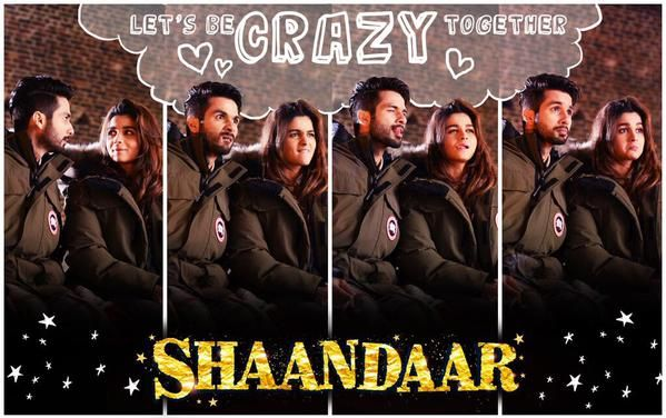 "Check out Shahid Kapoor and Alia Bhatt in their new ""Shaandaar"" movie poster."