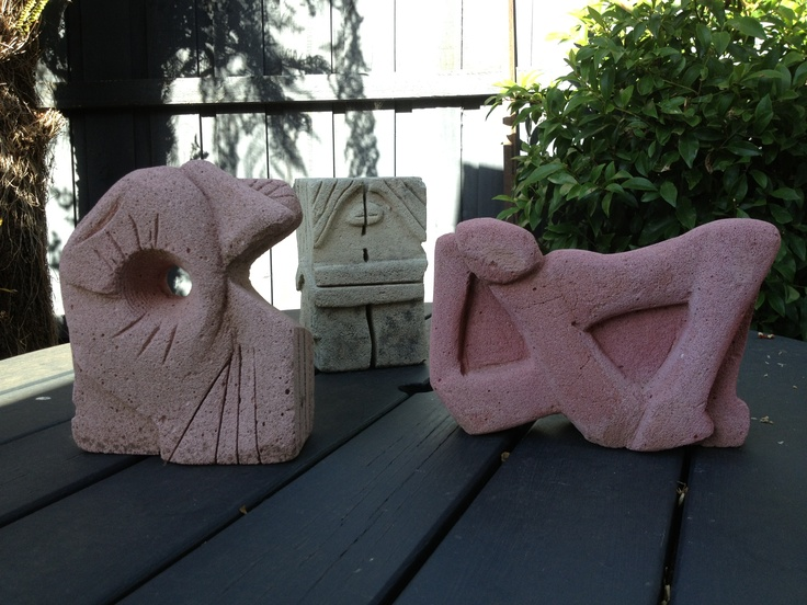 A gaggle of my carvings in limestone (white) and hebel (pink)