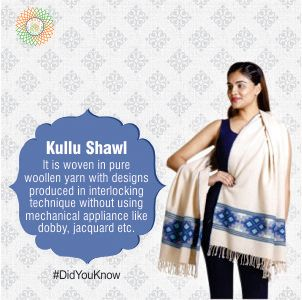 #DidYouKnow Kullu Shawl It is woven in pure woollen yarn with designs produced in interlocking technique without using mechanical appliance like dobby, jacquard etc.