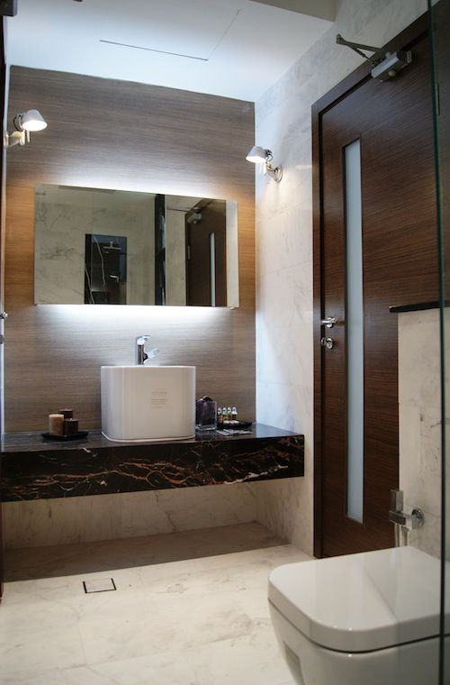 Floating Vanity With Black Solid Stone Platform Interior