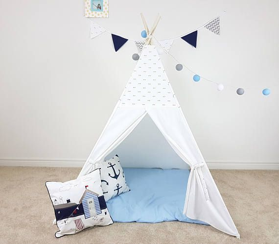 Total White Teepee with Little Navy Arrows Combo. Kid's