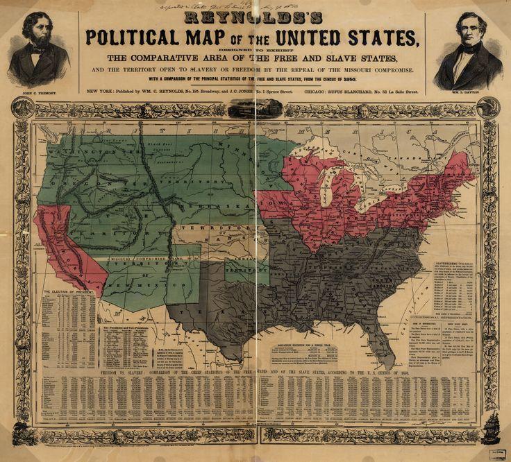 Cette carte illustre les états abolitionnistes en rouge et ceux esclavagistes en gris. L'expansion vers l'ouest amène un autre problème à la question de l'esclavage. Est-ce que les états à l'ouest seront esclavagistes ou non? C'est ainsi que le Compromis du Missouri est établit. Tous les états qui seront crées à l'ouest seront esclavagistes ou non selon s'ils se trouvent au nord ou au sud du 36° 30' parallèle.Cela apaise les tensions au sein du pays pour un temps.