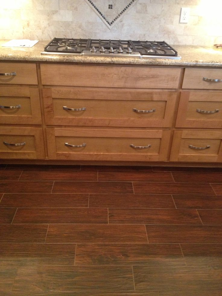 Wood looking ceramic tile planks