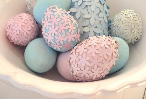 Eggs are dyed pastels and just use dry clear, non-toxic glue and Confetti!  So unique and pretty!