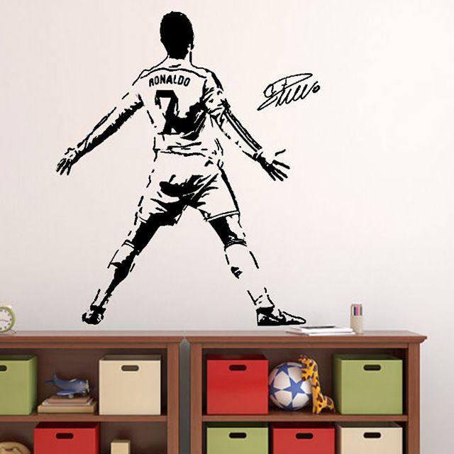 Cristiano Ronaldo Wandtattoo Fußball Fußball Spieler Portugal Kreative Vinyl abziehbild Sport Wandaufkleber für bay
