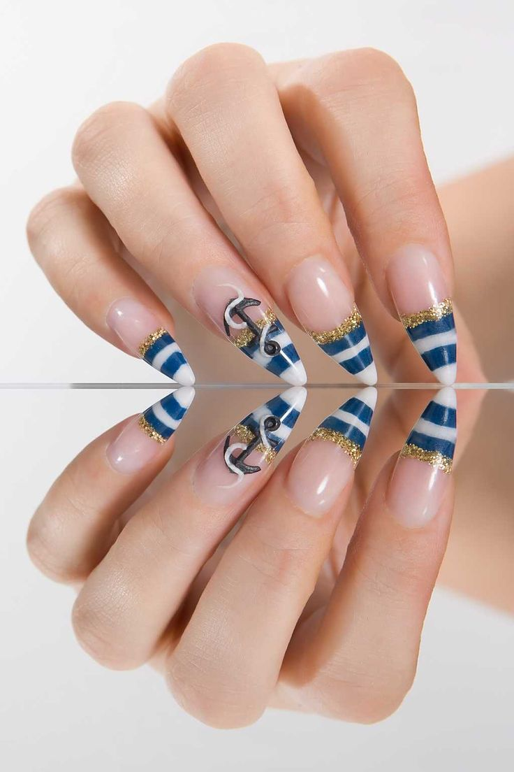 The 25 best marine nails ideas on pinterest nautical nails picture of female hand with a marine style manicure stock photo images and stock photography prinsesfo Images