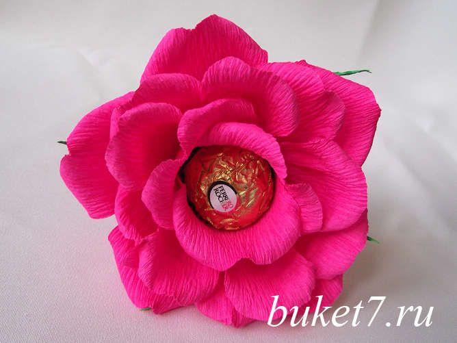 Объемная роза из конфет ферреро роше (Ferrero Rocher) МК фото 28